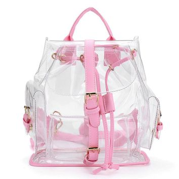 Women's Clear Plastic See Through Security Transparent Backpack Bag Travel Bag