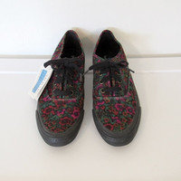Women's Vintage 1990s Keds / Purple & Orange Floral Print Sneakers w/ Tags / Size 9 Shoes