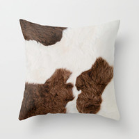 Cow Texture Throw Pillow by cafelab