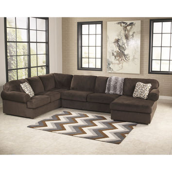 Jessa Place Sectional in Chocolate Fabric