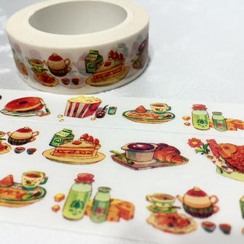 Gourmet Washi tape yummy Food fish cake soup washi masking tape dining party planner sticker kitchen dinner cooking food party label gift