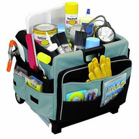 Rolling 46 Compartment Tote Scrapbook Hobby Canvas Organizer Storage Bag Craft