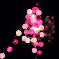 NEW 3M 20 LED Cotton Ball LED String Lighting Holiday Christmas Wedding Party Curtain Decoration Lights Drop Warm White Light