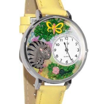 Cat Nap Yellow Leather And Silvertone Watch