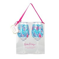 Acrylic Wine Glasses in Red Right Turn by Lilly Pulitzer - FINAL SALE
