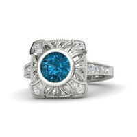 Round London Blue Topaz Palladium Ring with White Sapphire & Diamond