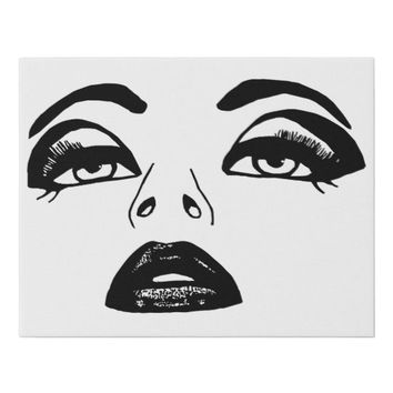 Long Lashes Lipstick Makeup Art Faux Canvas Print