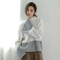 Stand collar Slit Flare Sleeve Sweater  Women Contrast color Knitwear Jumper Pullovers kleding jerseis femme 2 colors