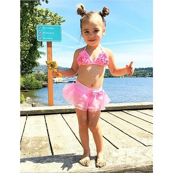 Two-piece Baby Girls String Swimsuit Little Girl Flower Swimmable Swimsuits Skirt Bikini  Bathing Suit Costume Swimwear Clothes