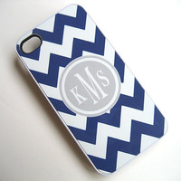 iphone case - Navy Blue and White Chevron iPhone 4 Case with Gray Monogram  - iPhone 4 4S Cover - Hard WHITE Case