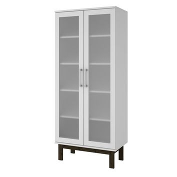Accentuations by Manhattan Comfort Serra 2.0- 5- Shelf Bookcase in  White and Wooden Legs