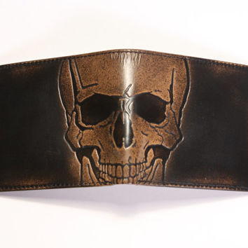 Leather Wallet - Men's Wallet - SKULL Embossed Leather Bifold Wallet