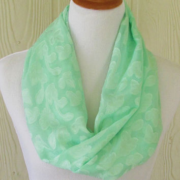 Infinity Scarf, Mint Green, Floral Weave, Women's Chiffon Scarf,  Circle Scarf, Loop Scarf, Tube Scarf, Women's Scarves, Eclectasie
