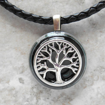 tree of life necklace: black - wiccan pendant - celtic jewelry - tree necklace - elemental jewelry - unique gift - spiritual jewelry