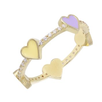 Enamel Hearts Ring