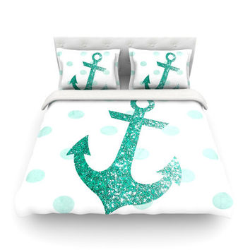KESS InHouse Glitter Anchor by Nika Martinez Light Duvet Cover