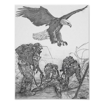Eagle & Soldiers Poster