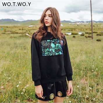 WOTWOY Reflected Sequins Casual Sweatshirt Women Cotton O-Neck Black Hoodies Long Sleeve Pullover Women Autumn Winter Sweatshirt