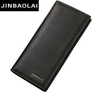 JINBAOLAI Brand Men Wallet Genuine Leather Long clutch wallets for men Cowhide Bifold Purse Slim Fashion Male Wallets Carteira