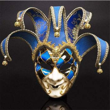 Full Face Men Venetian Theater Jester Joker Masquerade Mask With Bells Mardi Gras Party Ball Halloween Cosplay  Mask Costume