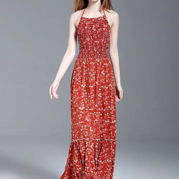 Red Floral Halter Lattice Lace Up Back Maxi Dress