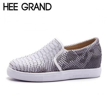 HEE GRAND Brand Casual Shoes Woman New Breathable Height Invisible Snake Skin PU Leath