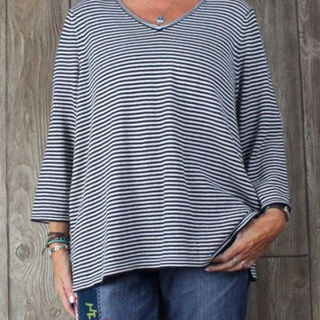 Nice Talbots 2x size Sweater Navy Blue White Stripe