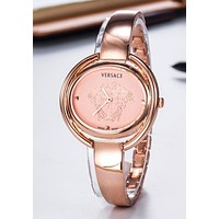 VERSACE Stylish Ladies Men Delicate Movement Quartz Watches Boys Girls Wristwatch Rose Golden