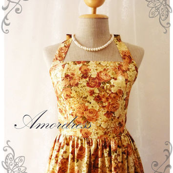 Exotic Brown Gold Rose Dress Japanese Style Rose Vintage Inspired Dress Party Tea Dress Once Upon a Time -Size S- ...LIMITED EDITION
