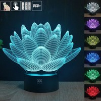 Lotus flower 3D USB Led night light 7colors changing christmas mood lamp touch button kids bedroom table  a free remote control