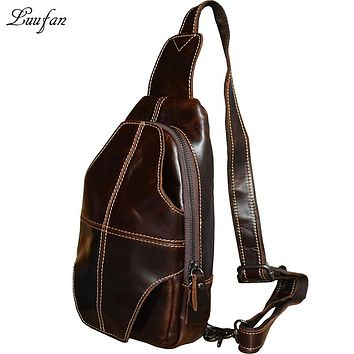 Men's Genuine leather chest bag Cow leather messenger bag for iPad Oil genuine leather crossbody bag for go out