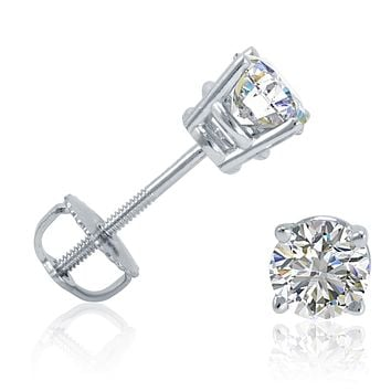 Amanda Rose Collection (SI2-I1) 1/2ct Total Weight Round Diamond Solitaire Stud Earrings in 14K White Gold