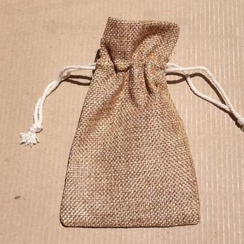 AB-2060 - Cotton Burlap Gift Bag With Draw String |  5 Bags