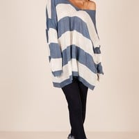 Coastal Envy knit in blue stripe Produced By SHOWPO