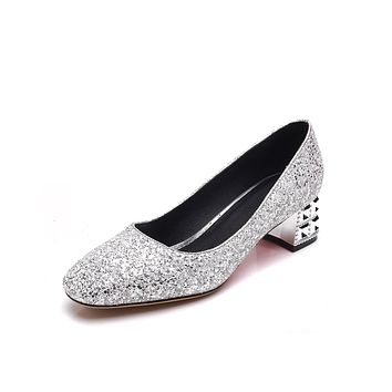 Spring Autumn Sequined Wmen Chunky Heels Pumps Wedding Shoes