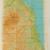 Vintage Northumberland Map, Northumberland Vintage Bartholomews Map, Map of Northumberland, England, Gift for Guys, Office Decor