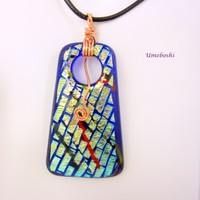 Pirate's Talisman Large Dichroic Fused Glass Pendant w Copper Wire Wrapping