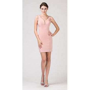 Blush Bodycon Short Cocktail Dress V-Neckline with Sheer Inset