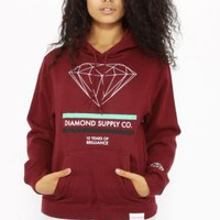 Diamond Supply, 15 Years Of Brilliance Women's Pullover Hoodie - Burgundy - Women's Wear - MOOSE Limited