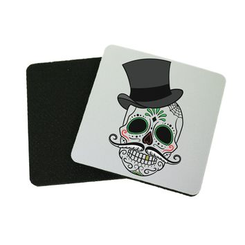 """3.5"""" x 3.5"""" Day Of The Dead Black Top Hat Pink Mustache Fun Coasters Made From Recycled Rubber"""