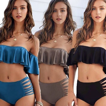 Swimwear Women Ruffle Neon Strapless Bikini 2017 Off Shoulder Lotus leaf Swimsuit High Waist Cross Straps Biquini Hollow Out