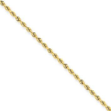2mm 14k Yellow Gold Handmade Solid Rope Anklet or Bracelet, 9 Inch