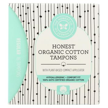 The Honest Company Cotton Tampon - Plant Based - Regular - 16 Count
