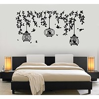 Vinyl Wall Decal Caged Birds Floral Tree Branch Free Fly Bedroom Stickers Mural (g1141)