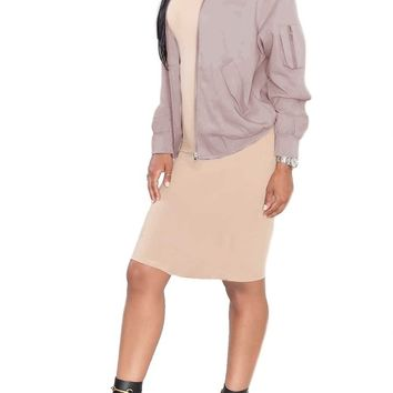 BOMBSHELL CANVAS BOMBER JACKET - BLUSH