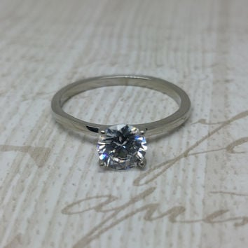 On Sale! 1ct 6mm Lab Diamond solitaire ring in Titanium or White Gold - engagement ring - wedding ring - handmade ring