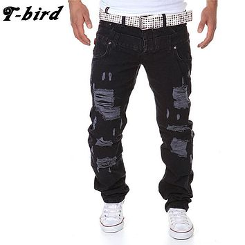 T-Bird New Arrived 2017 Brand Casual Joggers Holes Compression Pants Men Cotton Trousers Calabasas Cargo Pants Mens 36 DJWIMC