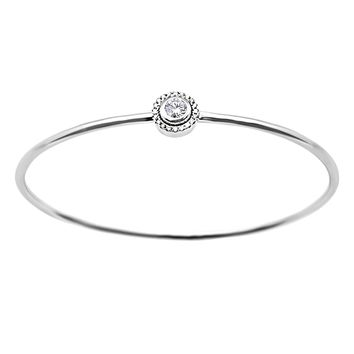 0.52ct Round Diamond in 14K White Gold Solitaire Halo Bangle Bracelet 7""