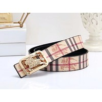 Burberry Tide brand men and women classic plaid smooth buckle casual belt #1