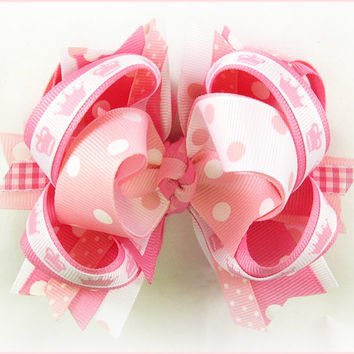 Boutique hair bow, Birthday bow, Princess bow, Pink bow, Over the top bow, Pageant bow, Big hair bow, Hair bows for girls, Princess crown